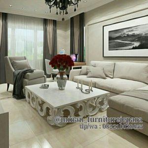 Set Sofa Tamu Minimalis With Coffetable Carving