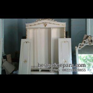 Almari Ukir 3 Pintu Duco Putih Emas