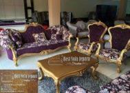 Sofa Dan Kursi Tamu Ukir Gold Purple